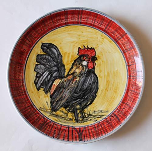 Der Hahn-Keramikplatte von Hand bemalt Abmessungen cm 25,5, hoch cm 3-Hergestellt in Italien, Toskana, Lucca. Erstellt von Davide Pacini. Italien Hahn