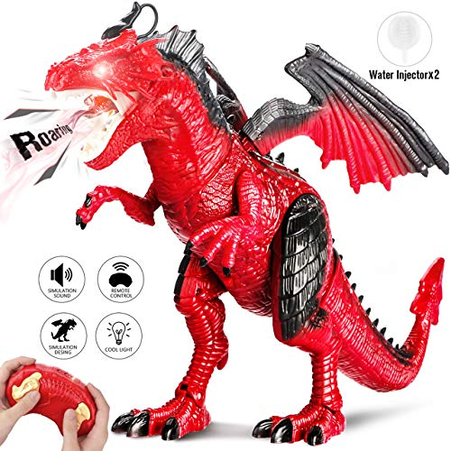 g Dinosaurier Spielzeug mit Gehen, simuliertem Brüllen, Sprühen, Geschenke für Jungen Mädchen Kinder, Red ()