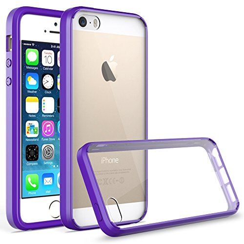 Coque iPhone SE, Pasonomi® Coque iPhone 5S 5 [Ultra Hybrid] Coussin d'Air [Ultra Clair] Housse Case Cover PC Back + Soft TPU Bumper Coque Pour Apple iPhone 5 / 5s / iPhone SE (2016), Transparent Violet