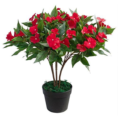 Decovego Fleißiges Lieschen Impatiens Walleriana Künstliche Pflanze Topfpflanze Kunstpflanze 50 cm Rot Dekoration