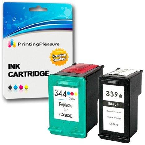 Printing Pleasure KIT 2x Sostituzione per HP 339 & HP 344 Cartucce d'inchiostro compatibili per HP Deskjet 5740, 5745, 5940, 5950, 6520, 6540, 6540d, 6620, 6840, 6940, 6980, 9800, 9800d / Officejet 7313, 7410, 7413, Pro K7100, Pro K7103, Pro K7108 / Photosmart 2570, 2573, 2575, 2575a, 2575v, 2575xi, 2605, 2608, 2610, 2610v, 2610xi, 2613, 2615, 2710, 2713, D5160, 8050, 8450, 8450gp, 8750, 8750gp, Pro B8350