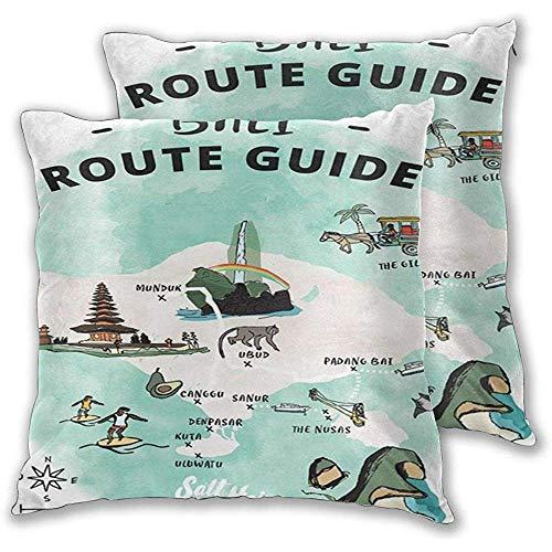 Eastern Doers 1 Pack Dekokissen Home Decor Couch Kissenbezug Bali Route Guide Travel Map