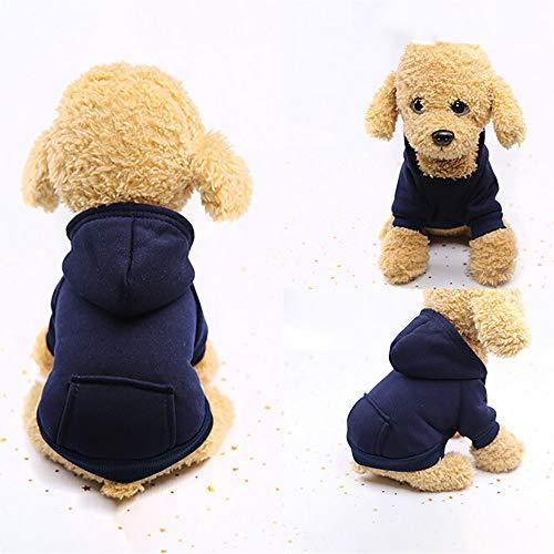 U.Expectating Hundekleidung Hoodie Winter warmen Welpen Mantel Stricken Welpen Pullover (M, Marine)