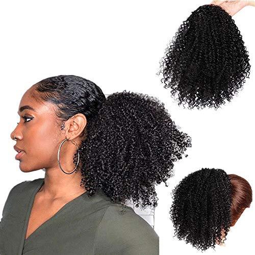 Haarteil Pferdeschwanz Zopf Synthetische lockige Pferdeschwanz Afro Kinky Hair Extension Kordelzug Pferdeschwanz Puff Perücke ()