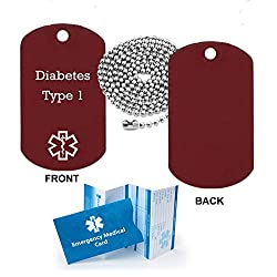 Pre-engraved Diabetes Type 1 Medical Alert Identification Red Anodized Aluminum Dog Tag. Choose from Diabetes Coumadin Blood Thinners Seizures Asthma Pacemaker Allergy and many more...