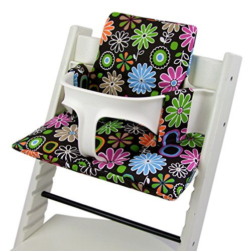 Imagen para Bambini Mundo Funda de repuesto, cojín de Juego para trona/silla infantil stokke Tripp trapp, reductor de asiento (Diseño) Braun Braune Bunte Blumen