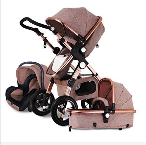 El Cochecito De Bebé Tres En Uno El Paisaje Alto Puede Sentarse Carros De Carro De Bebé Plegables Cochecito De Bebé Y Madre,Brown
