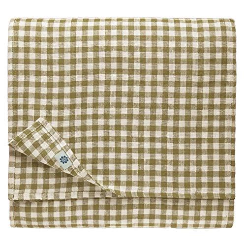 Linen & cotton tovaglia da tavola con tovaglioli a quadretti estella -100% lino, beige bianco (100 x 139 cm) tovaglia di stoffa rettangolare piccola rustica country per tavolo cucina caffè ristorante