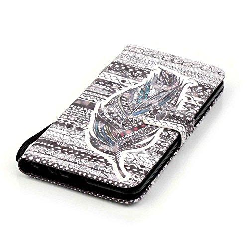 Coque Etui pour LG G Stylo 2 /LG G Stylus 2 LS775, LG G Stylo 2 Coque en Cuir Portefeuille Flip Etui Housse, LG G Stylus 2 LS775 PU Cuir Coque Folio Stand Etui Wallet Case Cover, Ukayfe Etui de Protec Feather tribal