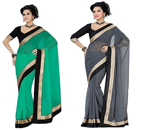 Aashi Saree Exclusive Combo Of Plain Chiffon Golden Black Border Sarees (Green & Grey)
