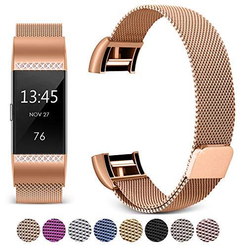 Mornex Correa Compatible Fitbit Charge 2, Diamante de Pulsera Milanese de Acero Inoxidable Banda Reemplazo Ajustable, Oro Rosa