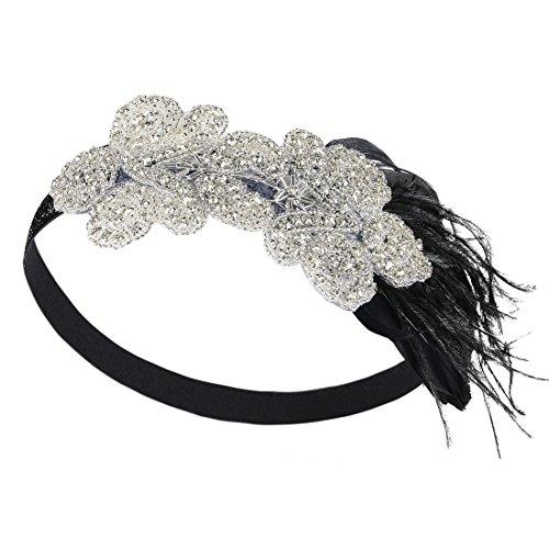 PrettyGuide Damen 1920er Kopfstück Art Deco Gatsby Stirnband Vintage Kostüm Kopfband (Gatsby Paar Kostüme)