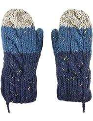 Cuello colgante guantes, marca nuevo invierno cálido guantes de varios colores en una cadena mujeres niñas niños Cable de forro polar dedo completo manoplas de ganchillo con cuerda/Cable, regalo de Navidad, color azul, tamaño Kid size