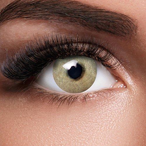 GLAMVUE Miami Green + Behälter I Sehr stark deckende natürliche grüne Kontaktlinsen farbig I 1 Paar (2 Stück) I DIA 14.00 I ohne Stärke