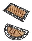 2 Premium Fußmatten (1 halbrund, 1 rechteckig) aus Gummi und Kokosfasern, 76 x 46 cm | ✓ 3,5 kg Fußabtreter verhindert verrutschen ✓ Robuste & repräsentative Schmutzfangmatten, Sauberlaufmatten, Schmutzmatten ✓ Fußabstreifer für Eingangsbereich von Haus und Wohnung