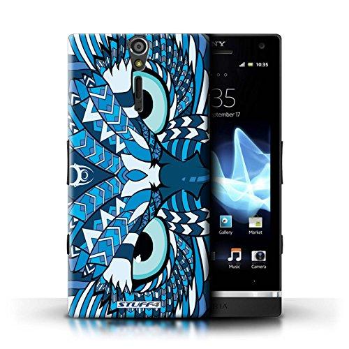 KOBALT® Hülle Case für Sony Xperia S/LT26i | Wolf-Sepia Entwurf | Aztec Tier Muster Kollektion Eule-Blau