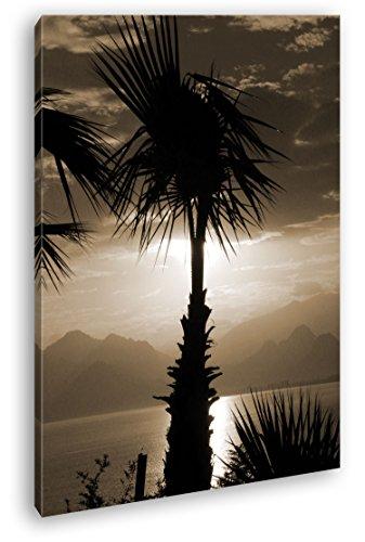 deyoli Idyllischer Sonnenuntergang Format: 80x60 Effekt: Sepia als Leinwandbild, Motiv fertig gerahmt auf Echtholzrahmen, Hochwertiger Digitaldruck mit Rahmen, Kein Poster oder Plakat