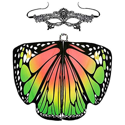 VEMOW Heißer Verkauf Damen Cosplay Party 168 * 135 CM Schmetterlingsflügel Schal Schals Damen Nymphe Pixie Poncho karneval Kostüm Zubehör(X4-Grün, 168 * 135CM)