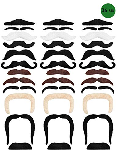 Balinco 36-Teilig Selbstklebende Schnurrbart Klebebärte als perfektes Accessoire für Damen und Herren Kostüme zum Karneval / ()
