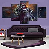 HIMFL 5 Panels Leinwanddruck Sylvanas Windläufer World of Warcraft Bilder Poster Kunstwerk Wandkunst Gemälde für Zuhause Dekor