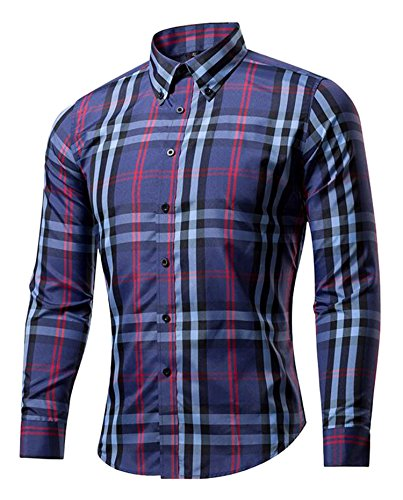 DD UP Herren Gestreift Kariert Baumwolle Slim Plaid Okoberfest Langarm Hemden Shirts 13