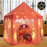 Sonnis with Large Star Lights String, Durable Kids Playhouse for Indoor & Outdoor Games, Stimulate Pretend and Imaginative Play, Have Fun, Encourage Social Interaction, Cute Pink
