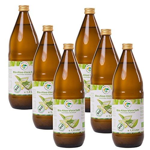 Bio Aloe Vera Saft 6 x 1l, naturtrüber Direktsaft, handfiletiert, aus kontrolliert biologischem Anbau, Abfüllung in Deutschland, vegan