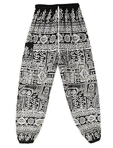 Pantaloni Harem Boho da donna con vita stampa Rayon Pizzo nero