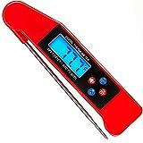 CHUDAN Thermomètre à Viande à Lecture instantanée, Meilleure Fonction de Diffusion vocale et thermomètre Barbecue à sonde Repliable avec rétro-éclairagepour la Cuisine en Plein air, Griller,Red