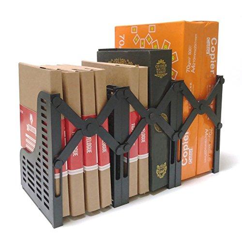 Marksafe Serre-livres dorigine Stable - Pour catalogues, dossiers et DVD - 3 pièces évolutives - Support de livre réglable en PS de haute qualité - Avec garantie de satisfaction, Noir