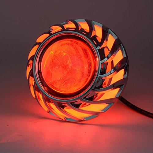 Andux Zone Angelo Diavolo Occhi Fari Moto incasso Hi/Lo fascio proiettore Lens EMY-01 (Rosso, 2 pezzi)