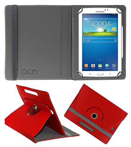 Acm Rotating Leather Flip Case for Samsung Galaxy Tab 3 Sm T211 Tablet Cover Stand Red  available at amazon for Rs.149
