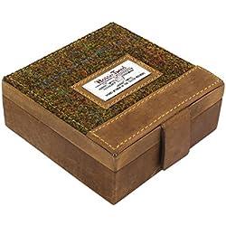 Harris Tweed Cufflink & Watch Trinket Box in Leather with Stornaway Tweed Lid