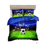 GAOXUE Bettwäschesatz,3D-Bedruckte Bettwäsche mit weichem und antiallergischem Bettbezug und Kissenbezug, geeignet für EIN Doppelbett @ 210 * 210 (3 Stück) _Football 1