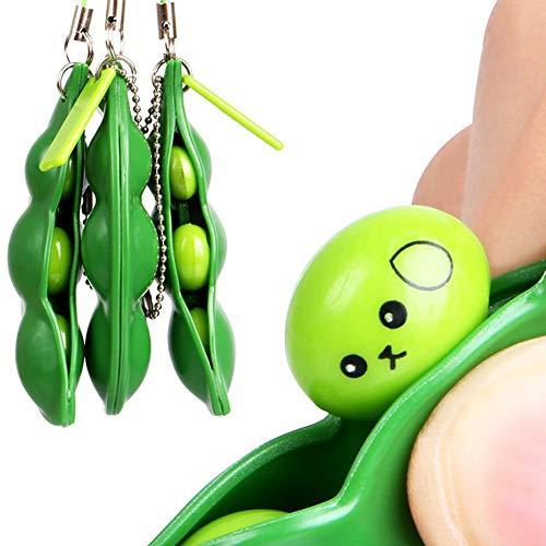 Creative-Squeeze Bean Keychain Praktische Fidget Spielzeug-Druck-Spielzeug Entlasten Erbsenkette für Kinder Erwachsene ()