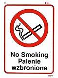 Caledonia Schilder 23301e Rauchverbot Englisch/Polnisch Zeichen, selbstklebendes Vinyl, 200mm x 150mm