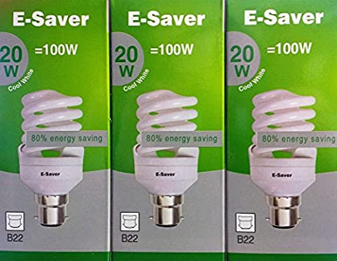 Pack of 3, E-Saver CFL Full Spiral, 20w = 100watt, Cool White 4200k, Compact Fluorescent Lamp, Bayonet Cap (BC, B22, B22d) 1150 Lumen, T2, 80%-85% Energy Saving Light Bulb, Flicker Free, 10,000 Hours Life