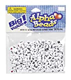 Alphabet Beads 7mm 250/Pkg-White Round W/Black Letters