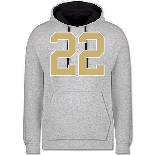 Shirtracer American Football - Football New Orleans 22 - M - Grau meliert/Navy Blau - JH003 - Kontrast Hoodie