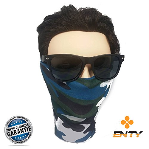 Enty Face-Shield | Premium - Face-Mask von Enty | Bandana Multifunktionstuch Schlauchtuch Halstuch Multischal Maske (Blue Tigerstripes)