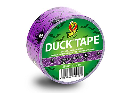 Duck Tape Color Gewebeband in lila mit Spinnenmuster 48 mm x 9.1 m