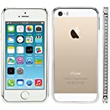 kwmobile Metall Glitzer Bumper Hülle für Apple iPhone SE / 5 / 5S - Aluminium Rahmen Protection Schutzhülle Cover in Silber