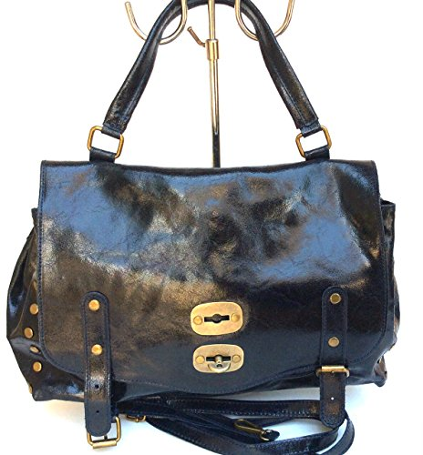Superflybags Borsa A Spalla In Vera Pelle modello Rodeo Made In Italy Nero