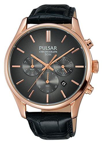 Pulsar Homme Chronographe Quartz Montre avec Bracelet en Cuir PT3782X1
