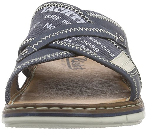 Rieker 25168 Mules & Clogs-men, Mules homme Bleu - Blau (denim/chalk/denim / 14)