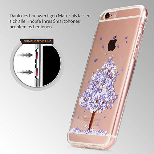 URCOVER Housse Floral Style Cover iPhone 6 / 6s en Silicone Douce | Coque Mince Transparente Élegante Apple iPhone 6 / 6s Étui Árriere Fleurs Portable Protection Back Case en Mandala blanc Arbre violet