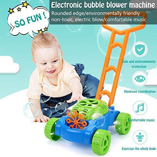 julyso Máquina electrónica de soplador de Burbujas, cortacésped Walker Bubble con música Juego al Aire Libre Empuje Juguetes para niños Niños Fun