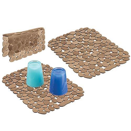 mDesign Set da 3 Tappetini per lavello Cucina in plastica - Grande Tappetino lavandino Protettivo con Design a ciottoli - Accessori Cucina per lavello a Doppia Vasca - Color Ambra