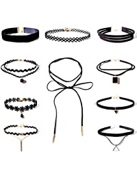 Shining Diva Fashion Jewellery Stylish Party Wear Black Lace 10 pc Combo Choker Necklace Set for Women and Girls(cmb272)