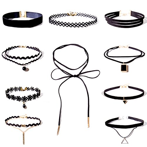 Shining-Diva-Fashion-Jewellery-Stylish-Party-Wear-Black-Lace-10-pc-Combo-Choker-Necklace-Set-For-Women-and-Girls